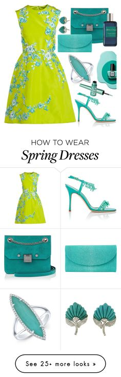 """""""Spring"""" by sunnydays4everkh on Polyvore featuring Monique Lhuillier, Manolo Blahnik, Jimmy Choo, Atelier Cologne, Jenna Hipp, Barry M and springdresses"""
