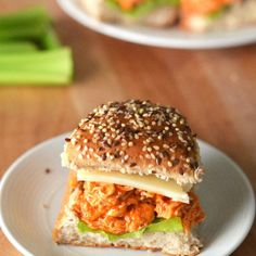 These crockpot buffalo chicken sandwiches are so easy and very tasty!