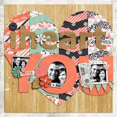 Cute idea, but needs more contrast to see photos + hearts + chevron Scrapbook Journal, Scrapbook Sketches, Scrapbooking Layouts, Scrapbook Cards, Scrapbook Designs, Wedding Scrapbook, Couple Scrapbook, Anniversary Scrapbook, Scrapbook For Best Friend