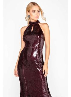 84ad2d0f44   Little Mistress Red High Neck Sequin Maxi Dress Sequin Maxi