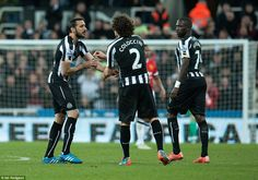 Gutierrez is given the captain's armband by Fabricio Coloccini after coming on in the second half at St James' Park