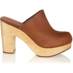 Rachel Comey Waxy Caramel Leather Dakota Clogs ($525) ❤ liked on Polyvore featuring shoes, clogs, leather shoes, platform shoes, women shoes and chunky heel shoes