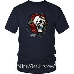 Skull T-shirt - Skull with roses Shop NOW! #shirt #skull #roses #red #print