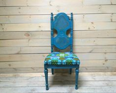 Caned and Upholstered Dining Chairs in Distressed by chezboheme