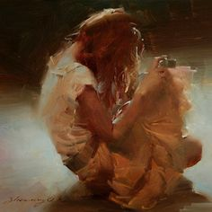 """""""Taking a Snapshot"""" - Zhaoming Wu {contemporary figurative #expressionist artist female dress camera seated woman cropped smudged painting #loveart}"""