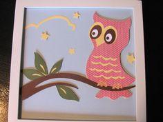 Owl Wall Art, Kids wall art, kids room, girls wall art, 8x8 art, nursery art, owl art. $15.00, via Etsy.
