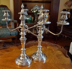 Your place to buy and sell all things handmade Silver Candelabra, Formal Dinner, Victorian Design, The Crown, Dinner Table, Silver Plate, Candles, Elegant, House