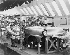 Ford Auto Workers On Assembly Line 8x10 Reprint Of Old Photo