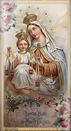 Little Office of the Blessed Virgin Mary: Preparation For Total Consecration To Our Lady, Day Religious Pictures, Religious Icons, Religious Art, Blessed Mother Mary, Blessed Virgin Mary, Catholic Art, Catholic Saints, Mont Carmel, Lady Of Mount Carmel