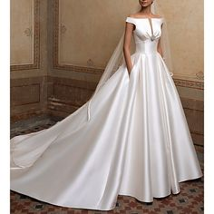 Silhouette:A-Line; Hemline / Train:Sweep / Brush Train; Closure:Covered Button; Fully Lined:Yes; Built-In Bra:Yes; Wedding Venues:Church; Embellishment:Crystal Brooch,Buttons; Fabric:Satin; Sleeve Length:Short Sleeve; Theme:Simple; Boning:Yes; Waistline:Natural; Neckline:Off Shoulder; Trends:Elegant; Front page:Wedding Dresses; Listing Date:01/13/2020; Bust:; Hips:; Hollow to Floor:; Waist:; Wrap:No Wedding Dress Hire, Barbie Wedding Dress, Luxury Wedding Dress, Wedding Attire, Bridal Dresses, Wedding Gowns, Wedding Venues, Cheap Wedding Dresses Online, Wedding Dress Accessories