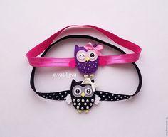 Купить Повязка с совушкой - розовый, черный цвет, сова, совушка, совенок, филин, повязка