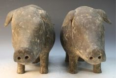 Pair of Chinese Pottery Pigs Han Dynasty