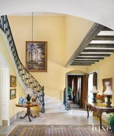 country residence's #French #foyer and #staircase.