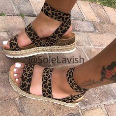 Ankle Strap Platform Line-Style Buckle Open Toe Platform Leopard Sandals Women's Shoes, Cute Shoes, Me Too Shoes, Shoe Boots, Leopard Sandals, Cute Sandals, Fashion Slippers, Fashion Shoes, Fashion Dresses