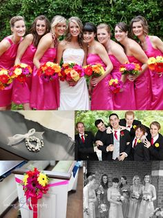 hot pink bridesmaid dresses and groomsmen's ties, multi bright flowers