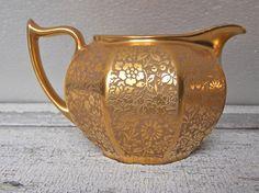 Gold Porcelain Cream and Sugar Bavaria Antique by rosebudshome