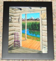 CABIN VIEW Framed Print 8 X 10 of an  Acrylic Painting Art Rustic Cabin Mountain Landscape Trees Gold Prospectors Scenic Water Solitude by ABrushOfLife on Etsy