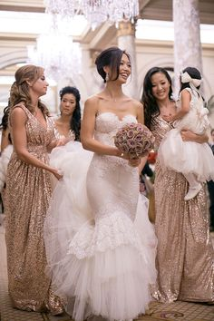 Bridesmaids dresses / gold sparkly. Everything about this picture is beautiful.