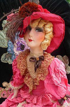 4c4a3e0a743 Antique French Boudoir Doll Paris 1920 Silk Fashion Doll Hat