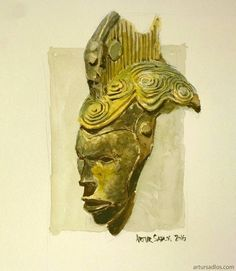 #African #mask #study in #watercolour