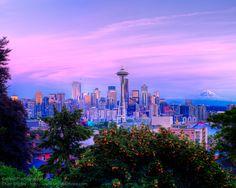 Seattle Skyline Sunset, U.S.A