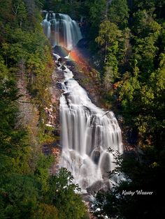 Whitewater Falls in the Pisgah National Forest of North carolina plunges 411 ft. It is the tallest waterfall east of the Mississippi River.