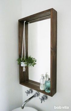 Add personality—and storage—to a small bath using this guide for how to frame a bathroom mirror. The ledge on this DIY framed mirror is a game-changer. diy bathroom How to Frame a Bathroom Mirror—with a Ledge Bathroom Mirrors Diy, Diy Bathroom Decor, Framed Mirrors, Bathroom Storage, Bathroom Mirror Makeover, Mirror Vanity, Bathroom Makeovers, Diy Mirror Decor, Bathroom Small