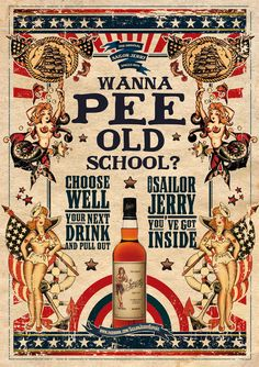 Sailor Jerry Wanna Pee Old School . A3 297x420mm SIZE. A2 420x594mm SIZE. PRINTED ON GLOSS 200GSM CARD / PAPER. | eBay!