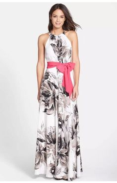Cool Amazing Eliza J Chiffon Floral Long Maxi Dress Gown Gray & White with Pink Sash 8 $158 2018 Check more at http://24store.cf/fashion/amazing-eliza-j-chiffon-floral-long-maxi-dress-gown-gray-white-with-pink-sash-8-158-2018/