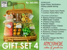 Idul Fitri Cookies Gift Set 4 | Price : 360 K nett | Content : 3 Cookies in Hardcase Plastic + 1 Cookies in tubes | Packaging: Rattan Suitcase | Incl: Doll, Decoration & Greeting Card | Free Delivery for BDG area