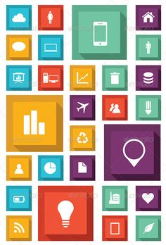 Flat Set of Icons  #GraphicRiver         Vector template for interface or infographic ready to place for your content.                     Created: 11 December 13                    Graphics Files Included:   Vector EPS #AI Illustrator                   Layered:   Yes                   Minimum Adobe CS Version:   CS             Tags      background #box #chart #components #design #diagram #flat #fresh #icon #layout #minimal #minimal design #modern #mosaic #page #rate #square #style #theme…