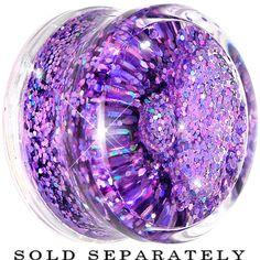 20mm Clear Acrylic Purple Liquid Glitter Saddle Plug #bodycandy #plugs #gauges