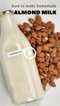Healthy Juices, Healthy Smoothies, Healthy Drinks, Smoothie Recipes, Fun Baking Recipes, Milk Recipes, Snack Recipes, Homemade Almond Milk, Diy Food