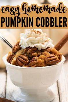 Pumpkin cobbler is one of those must-have fall desserts. With a delicious crust topping piled on a smooth pumpkin base, you don't want to miss out on this recipe!