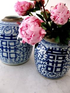 chinoiserie ginger jars as vases great for career area (blue and white) with the double happiness symbol www.pinkdwelling.com
