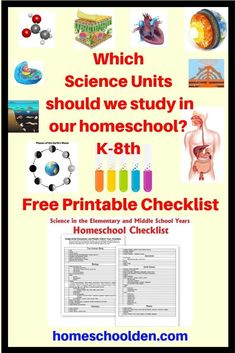 Which Homeschool Science Units should we study in grade? This is a free printable for exploring some of the science units you might want to cover in Elementary and Middle School. This is a free printable science checklist for homeschoolers planning 8th Grade Science, Middle School Science, Elementary Science, Science Lessons, Teaching Science, Science Education, Physical Education, Education City, Science Topics