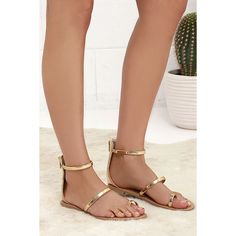Achilles Gold Flat Ankle Strap Sandals ($20) ❤ liked on Polyvore featuring shoes, sandals, gold, gold high heel sandals, embellished flat sandals, metallic gold sandals, ankle strap sandals and toe loop sandals
