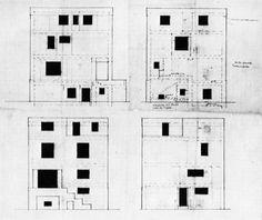 Adolf Loos Rufer House, Elevations, Vienna, Austria, 1922
