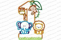 Jungle-Safari-Zoo 1st Birthday Version 2 Applique Embroidery Design