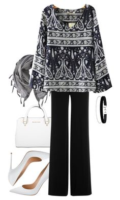 """paisley monochrome styles"" by wilypr on Polyvore featuring Gianvito Rossi, Miss Selfridge, Michael Kors, Diane Von Furstenberg and Love Quotes Scarves"