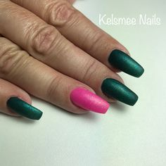 Matte nails green and pink