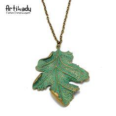 Artilady 패션 녹색 잎 펜던트 목걸이 익살스러운 몸짓 골드 컬러 아연 합금 잎 펜던트 목걸이 보석 파티 선물