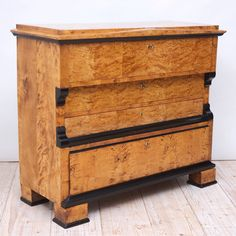 Biedermeier Drawer-Front Secretary in Birch | From a unique collection of antique and modern secretaires at https://www.1stdibs.com/furniture/storage-case-pieces/secretaires/