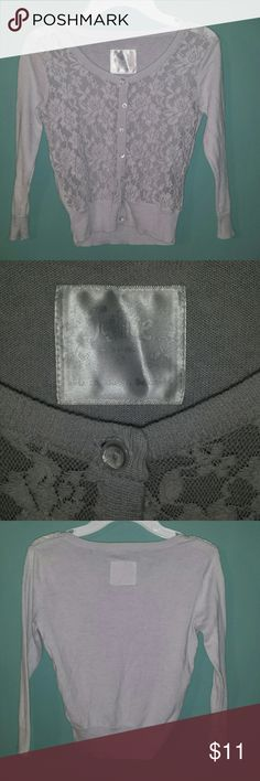 Lace Cardigan - Justice Light gray lace cardigan in like new condition, worn once. Justice Shirts & Tops Sweaters