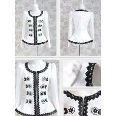 Veste court femme en drap de laine blanc imprimé bordure dentelle noir