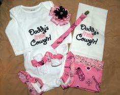 Custom Daddy's Little Cowgirl Onesie Set. $27.00, via Etsy.