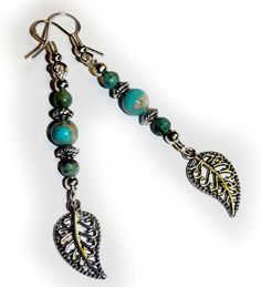 Genuine African Turquoise Antique/Sterling Silver Feather Southwestern Earrings #Handmade #SOUTHWESTERN
