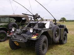Side view of the Ferret, offering a better view of its spare tire, various communications antennae, and the pintle-mounted machinegun. Army Vehicles, Armored Vehicles, Armored Car, Bug Out Vehicle, Zombie Vehicle, Military Equipment, Panzer, War Machine, Armed Forces
