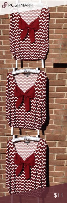 Chevron Blouse Burgundy and white long sleeve blouse with large bow. Super cute!  Junior size. Bought at Belk's. Living Doll Tops Blouses