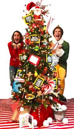 Buddy the ELF themed Tree - A girl and a glue gun Elf Christmas Tree, Elf Christmas Decorations, Christmas Movies, Christmas Ideas, Giant Candy Cane, Wood Snowflake, Candy Trees, Buddy The Elf, Cute Signs